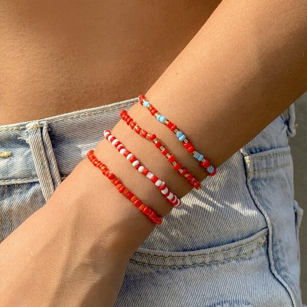 4pcs Beaded Bracelet, Red