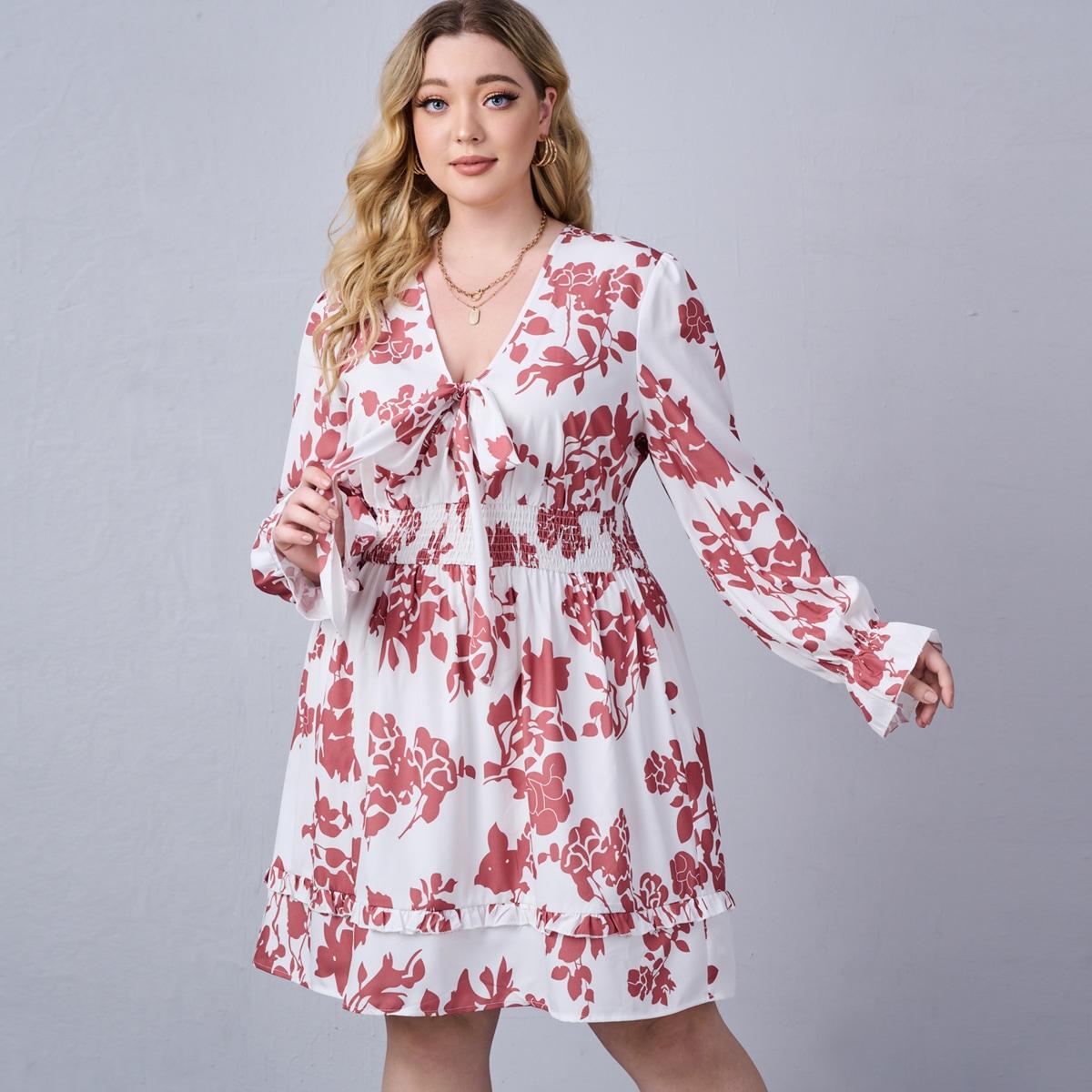 размера плюс Платье с цветочным принтом с узлом