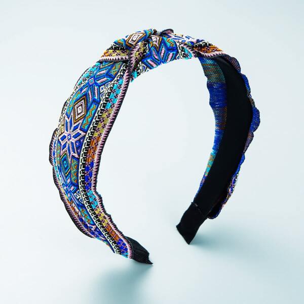 Geo Print Wide Headband, Multicolor