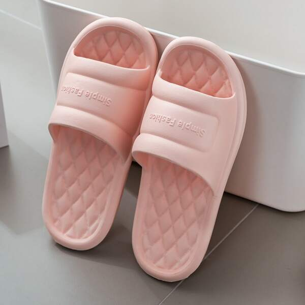Minimalist Textured Open Toe Slides, Baby pink