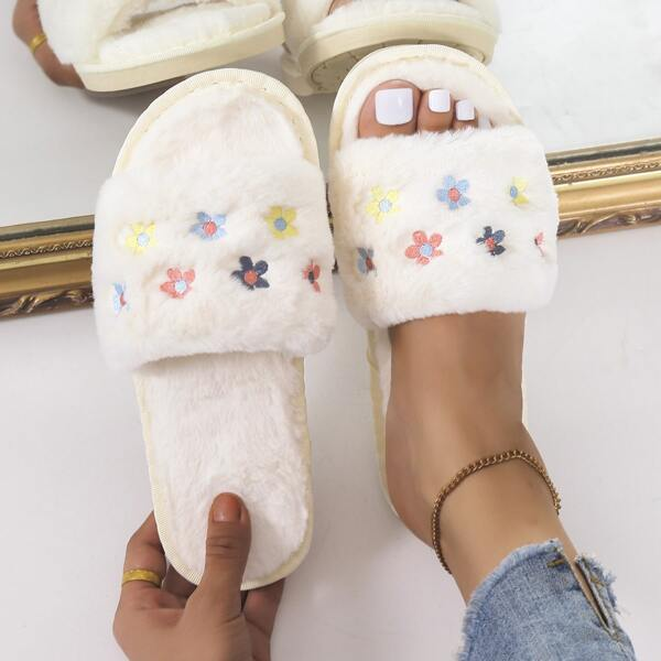 Fuzzy Colorblock Floral Embroidery Detail Slippers, Beige