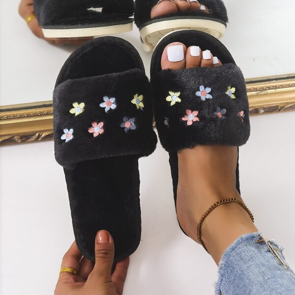 Fuzzy Colorblock Floral Embroidery Detail Slippers, Black