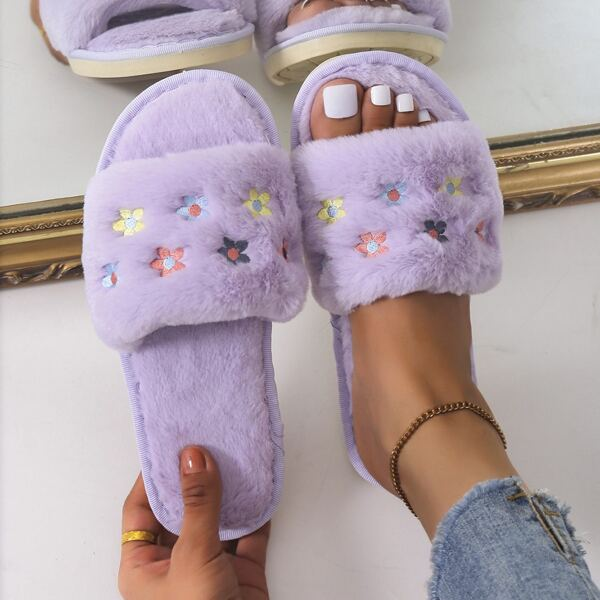 Fuzzy Colorblock Floral Embroidery Detail Slippers, Purple