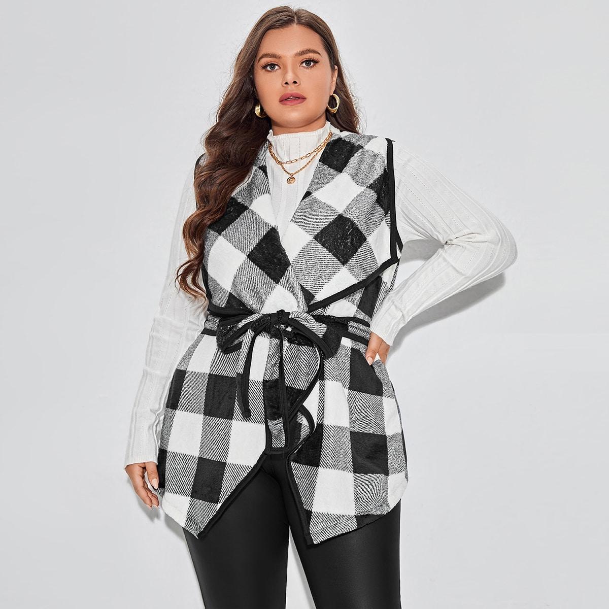 размера плюс Жилет-пальто с каскадным воротником в клетку с поясом фланелевый