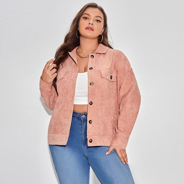 Plus Flap Detail Drop Shoulder Corduroy Jacket, Coral pink