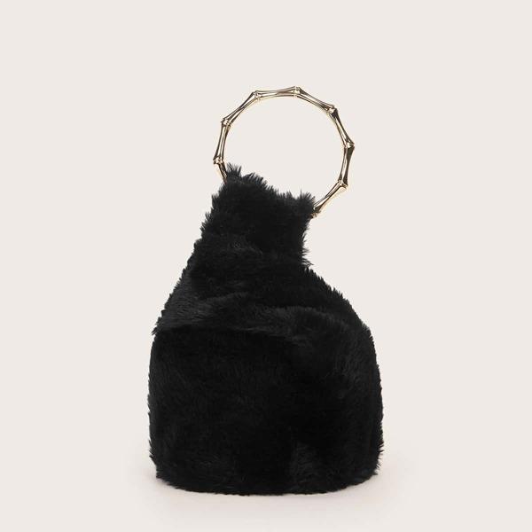 Minimalist Fluffy Satchel Bag, Black