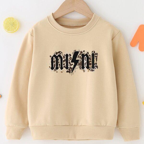 Toddler Girls 1pc Letter Graphic Sweatshirt, Khaki