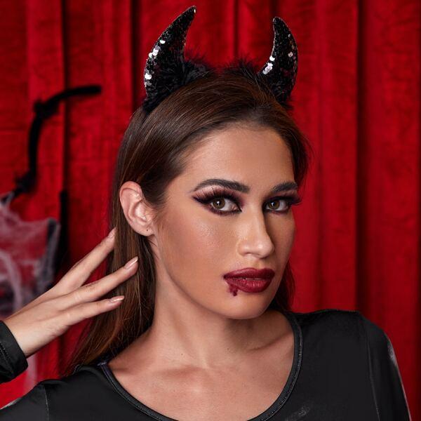 Halloween Devil Costume Hair Hoop, Black
