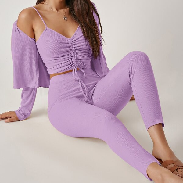 Drawstring Knot Ruched Cami Top & Leggings Set With Coat, Lilac purple