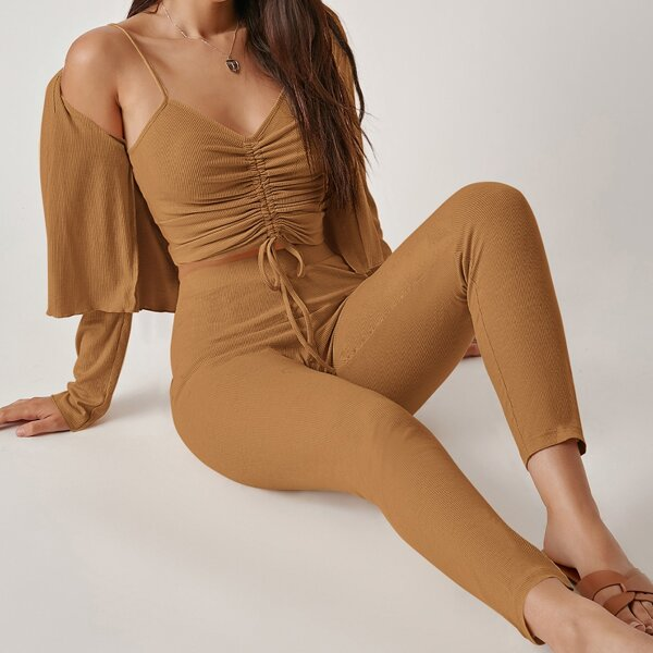 Drawstring Knot Ruched Cami Top & Leggings Set With Coat, Brown