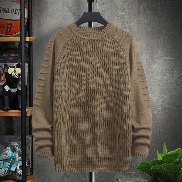 Men Ribbed Knit Raglan Sleeve Sweater, Camel