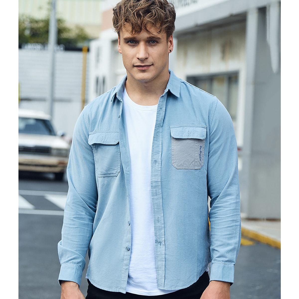 Мужской Рубашка с текстовой вышивкой контрастный с карманом