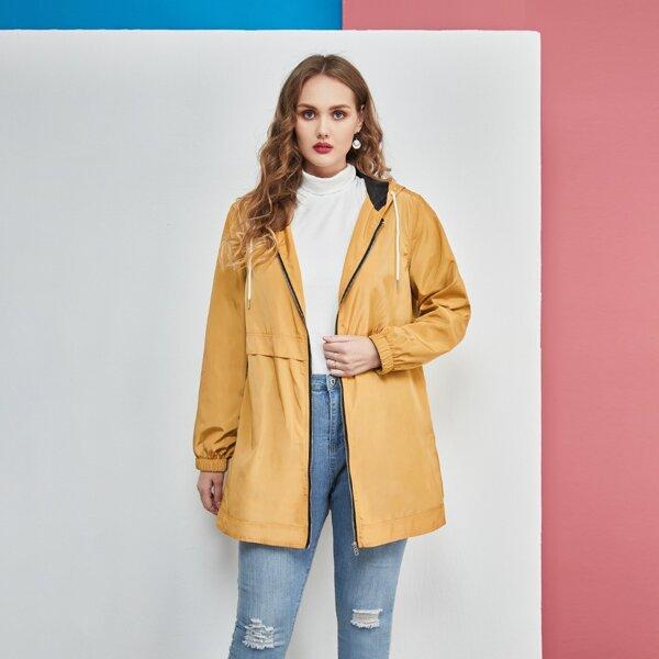 Plus Drawstring Hooded Zipper Windbreaker Jacket, Ginger