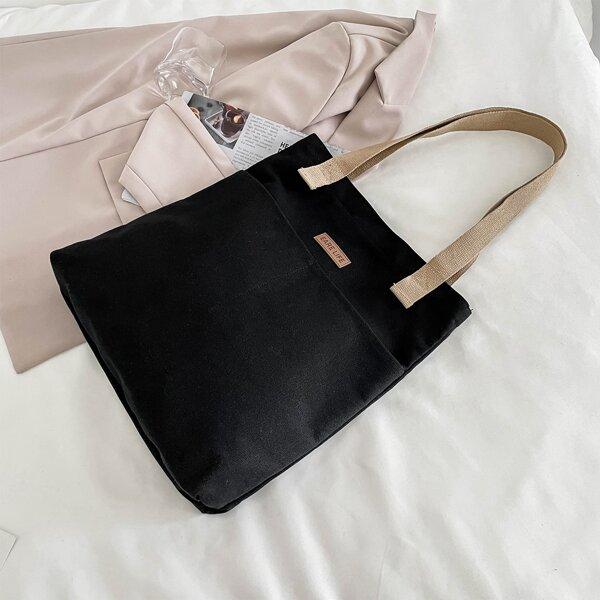Colorblock Letter Patch Shopper Bag, Black