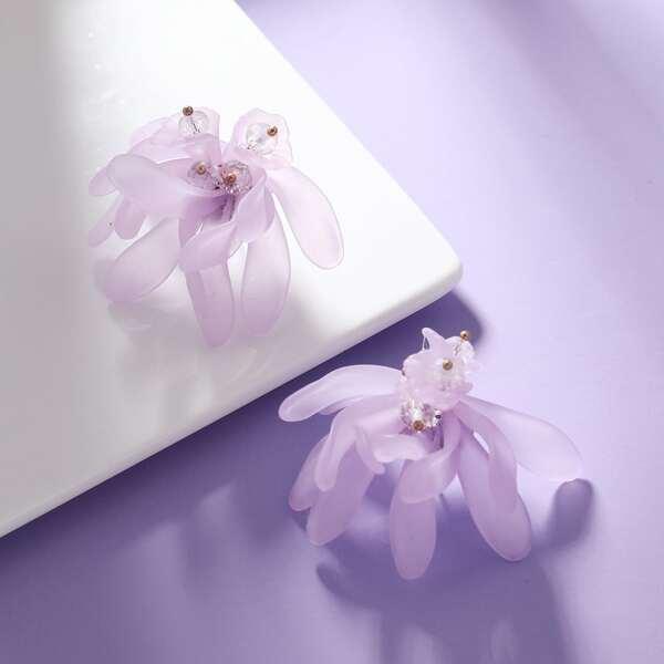 Серьги-подвески с цветком, Пурпурный