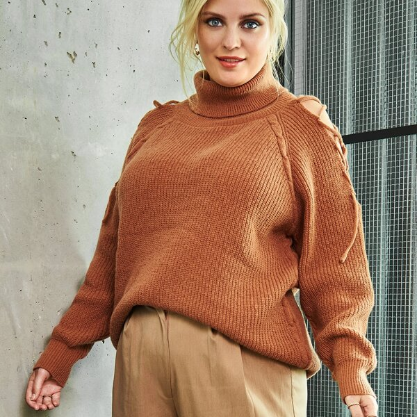 Plus Turtleneck Lace Up Raglan Sleeve Cable Knit Sweater, Coffee brown