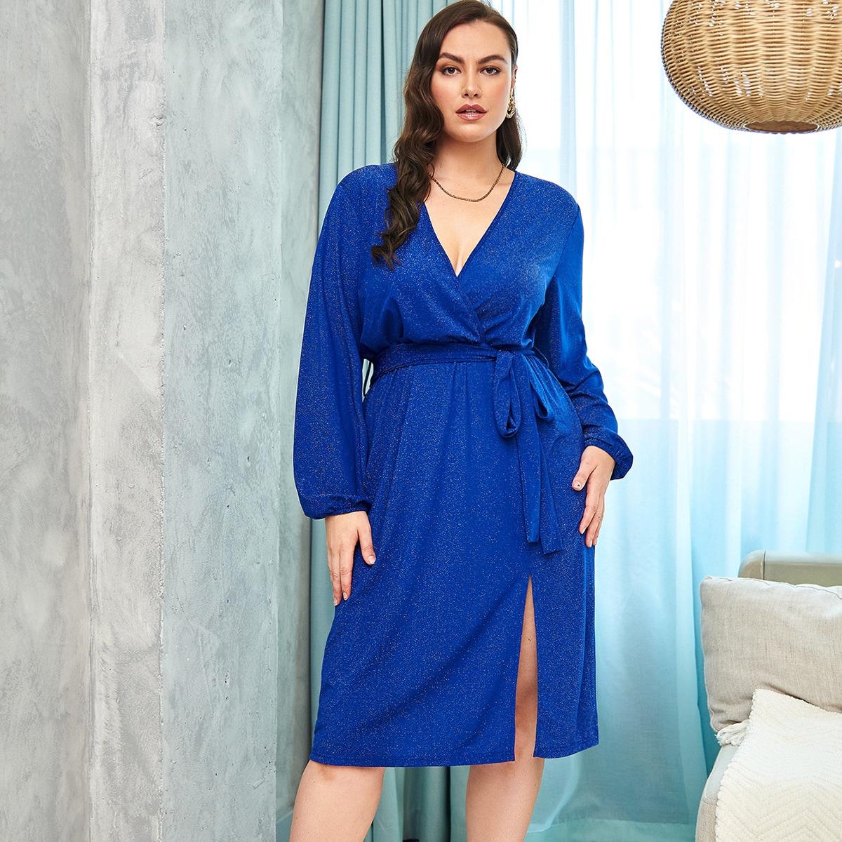 размера плюс Платье с поясом с рукавами-фонариками с разрезом