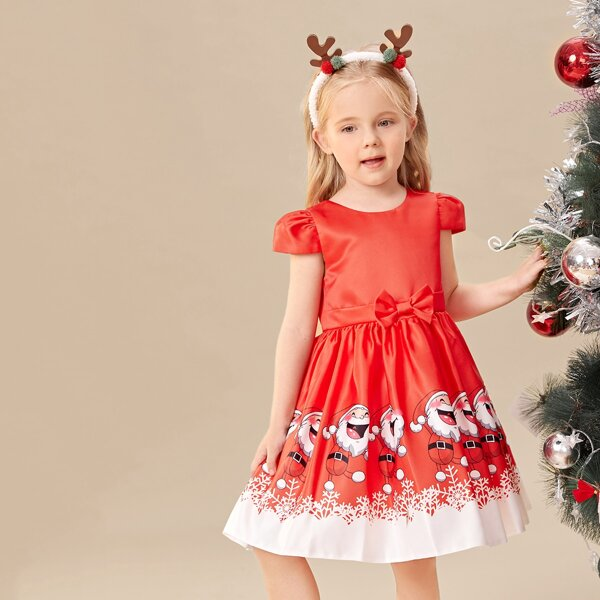 Toddler Girls Christmas Santa Claus Print Bow Front Gown Dress, Red