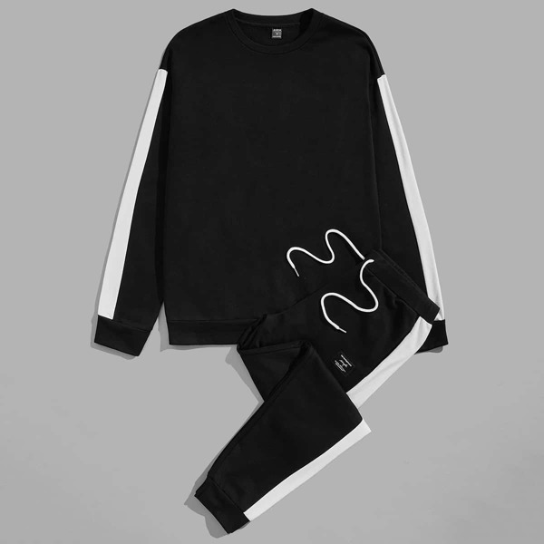 Men Contrast Sideseam Pullover and Joggers Set, Black