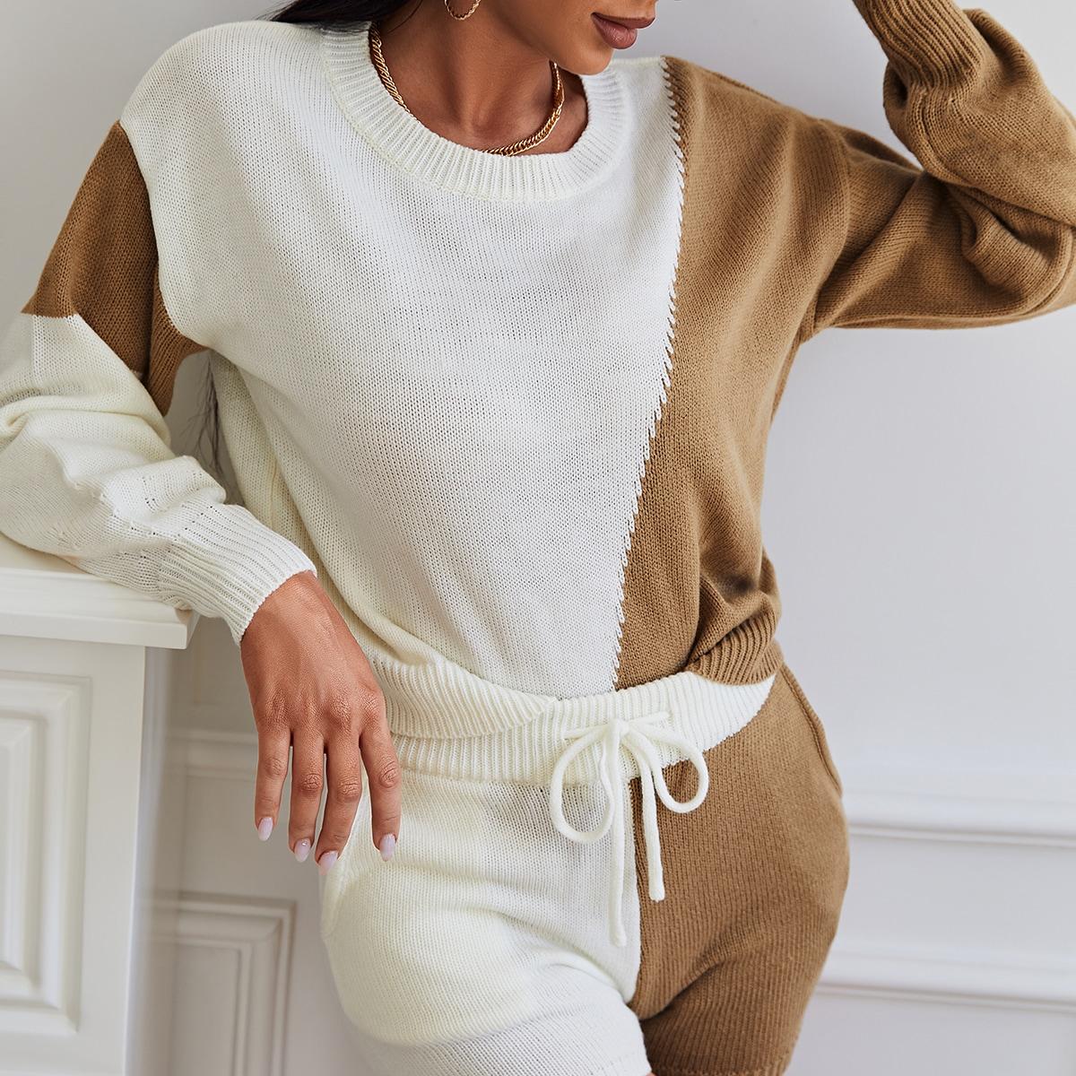de hombros caídos de color combinado Jersey & Set shorts