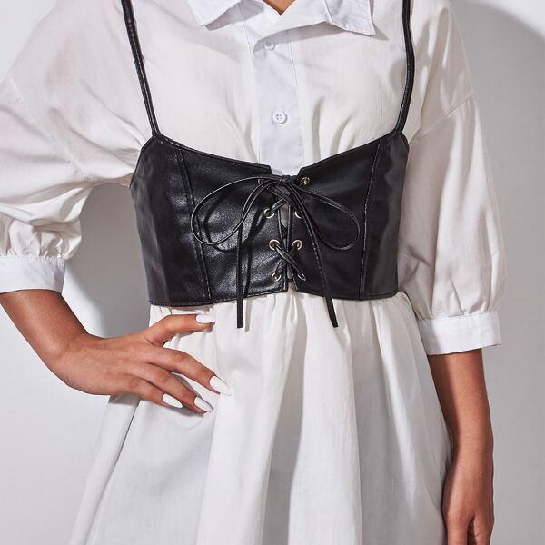 Lace-up Front Corset Belt, Black