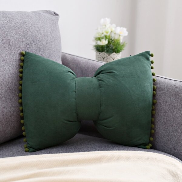 Bow Shaped Cushion Cover Without Filler, Green