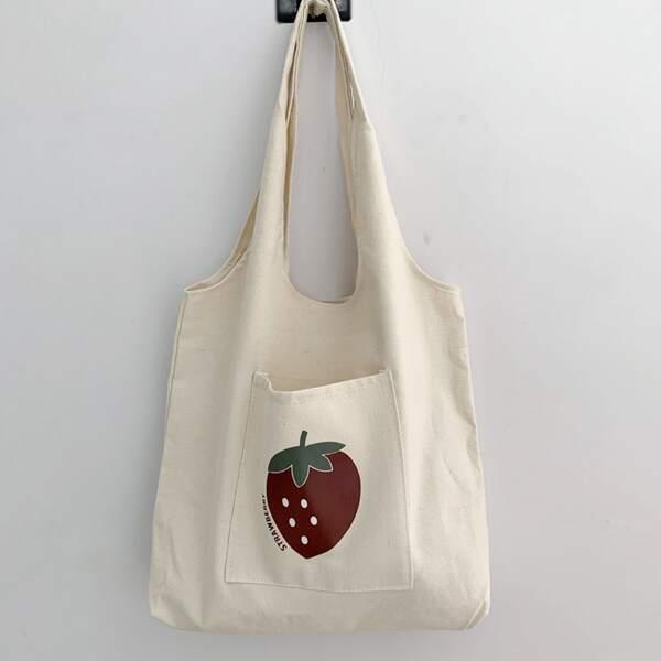 Fruit Graphic Pocket Front Shopper Bag, Beige