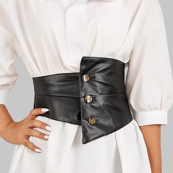 Button Detail Corset Belt, Black