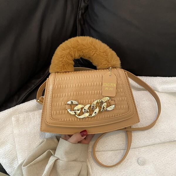 Minimalist Chain Decor Fluffy Handle Satchel Bag, Khaki
