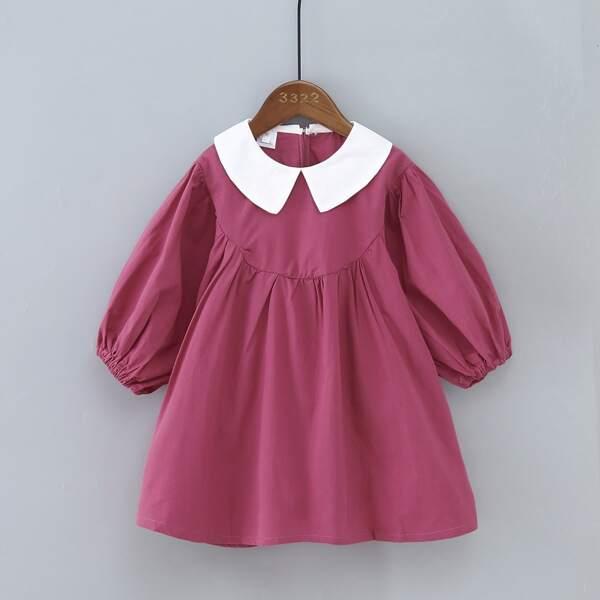 Toddler Girls Peter Pan Collar Lantern Sleeve Smock Dress, Red violet