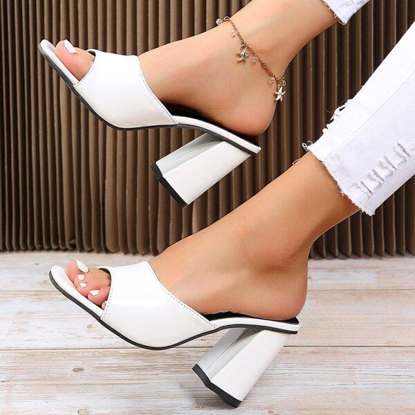 Minimalist Chunky Heeled Mules, White
