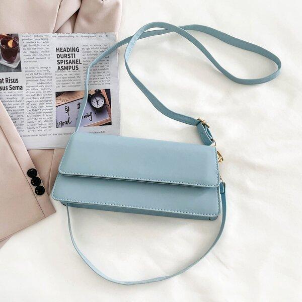 Minimalist Flap Baguette Bag, Blue
