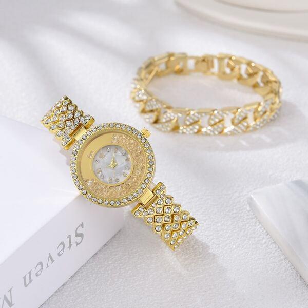 1pc Rhinestone Decor Round Pointer Quartz Watch & 1pc Bracelet