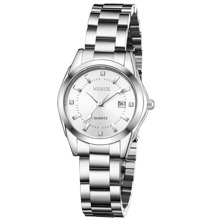 Rhinestone Decor Round Pointer Date Quartz Watch