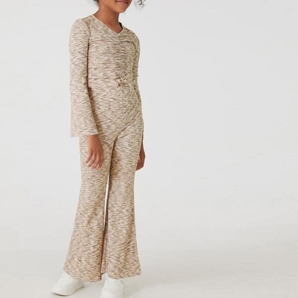 Girls Space Dye Tie Front Trumpet Sleeve Top & Flare Leg Pants, Khaki