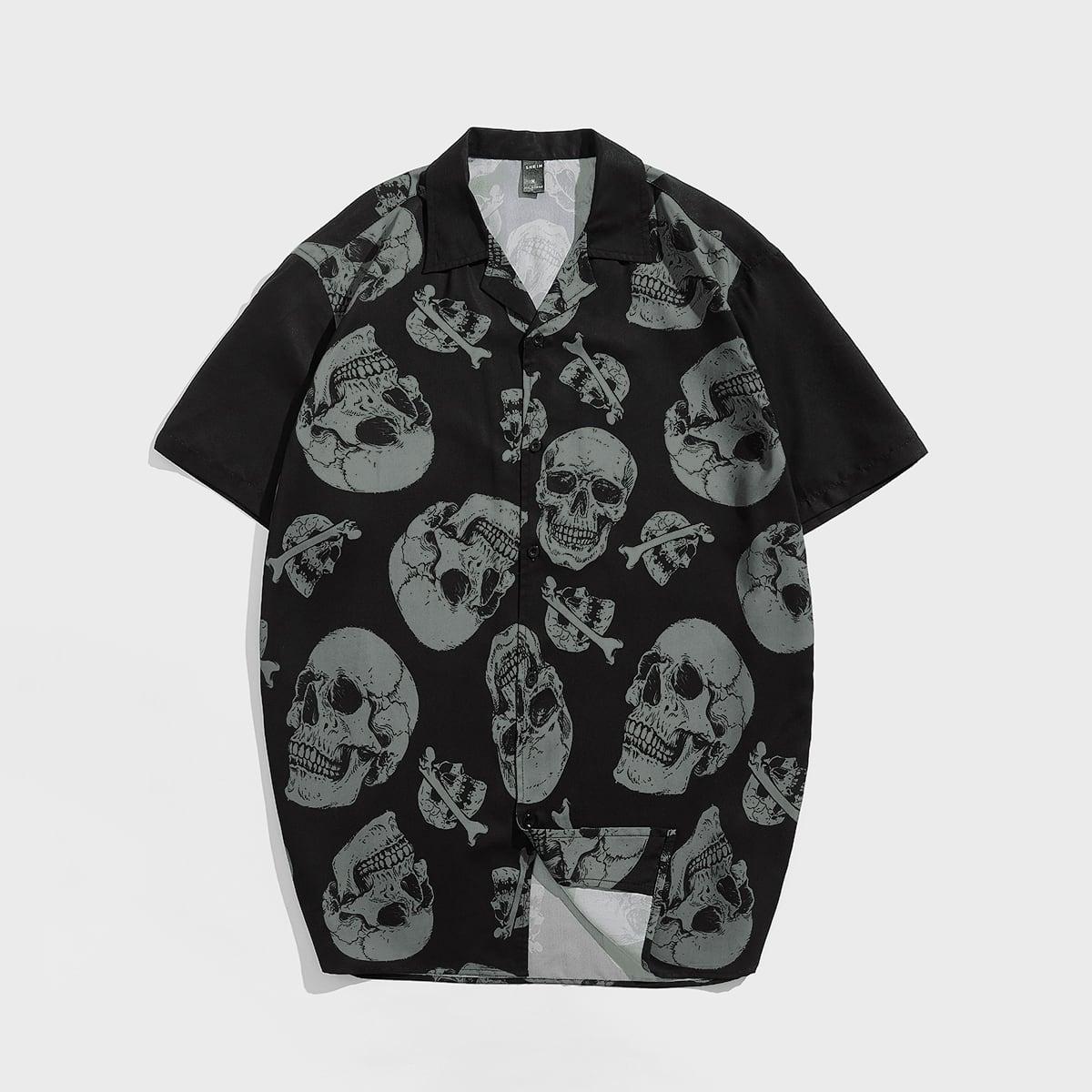 Мужской Рубашка с принтом скелета