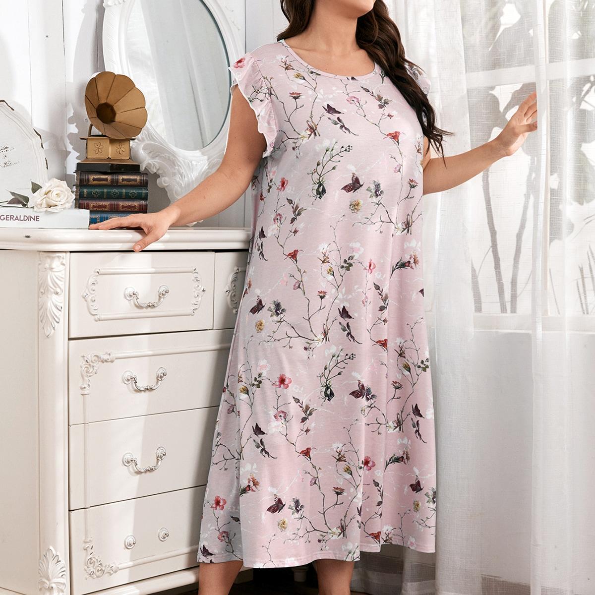 с оборками Со цветочками Повседневный Ночная рубашка размер плюс