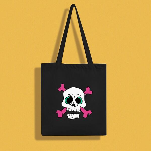 Cartoon Skull Graphic Shopper Bag, Black