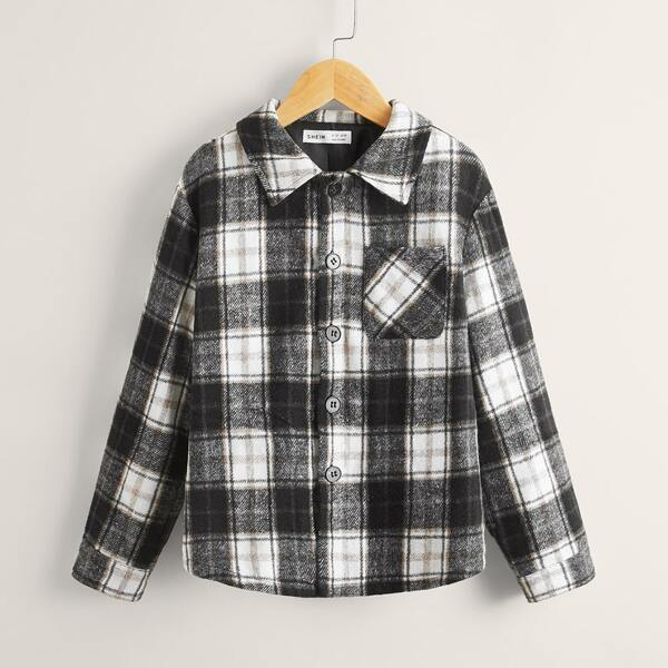 Boys Pocket Patched Plaid Tweed Overcoat, Multicolor