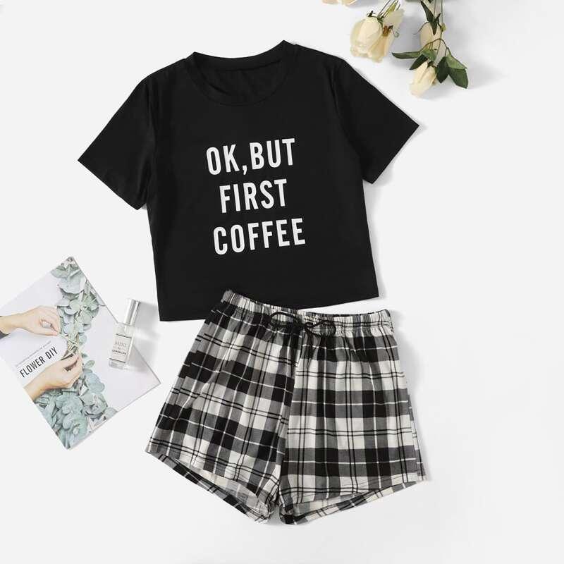 Slogan Graphic Tee & Plaid Shorts PJ Set, Black and white