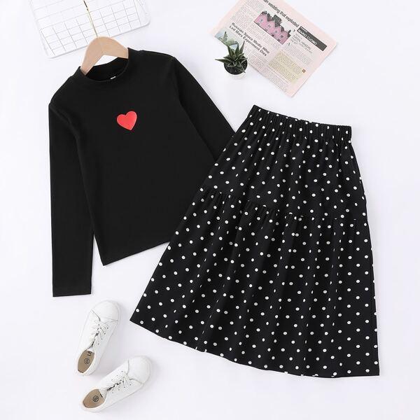 Girls Heart Print Tee & Polka Dot Skirt, Black