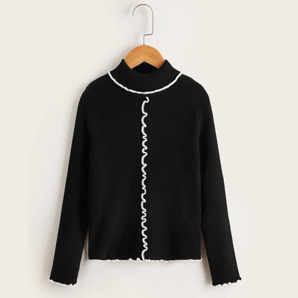 Girls Mock Neck Ribbed Knit Lettuce Trim Sweater, Black