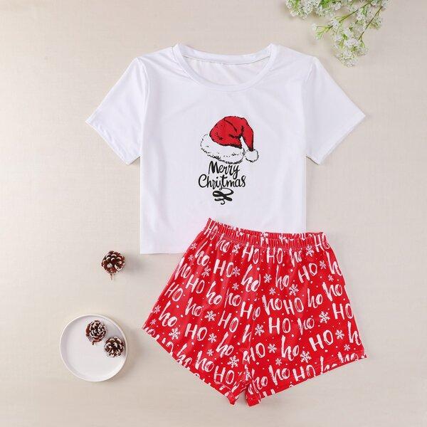 Plus Christmas & Slogan Graphic PJ Set, Multicolor
