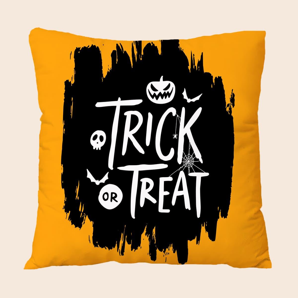 Чехол для подушки без наполнителя на хэллоуин с текстовым принтом