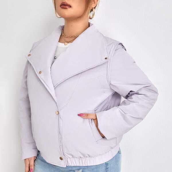 Plus Waterfall Collar Slant Pocket Buttoned Winter Coat, Lilac purple