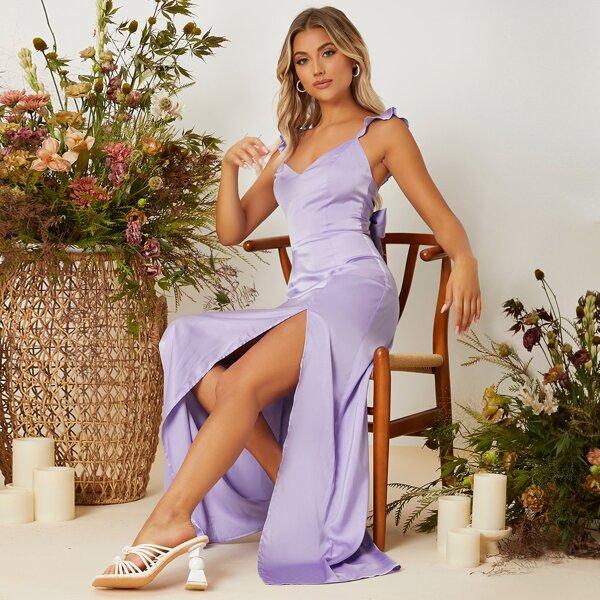 Ruffle Trim Tie Backless Split Thigh Satin Bridesmaid Dress, Purple