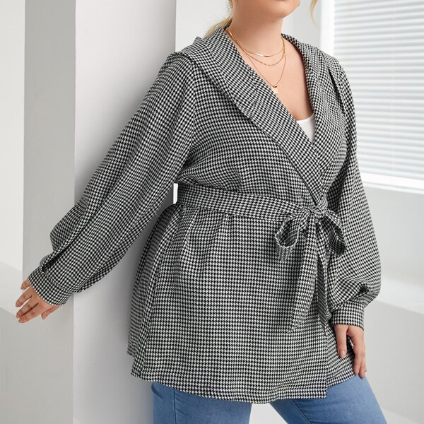Plus Houndstooth Print Lantern Sleeve Belted Hooded Coat, Black and white