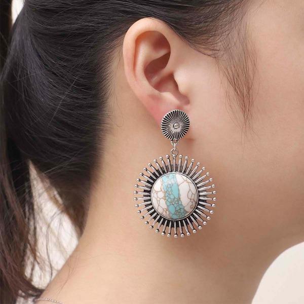 Stone Decor Drop Earrings, Antique silver