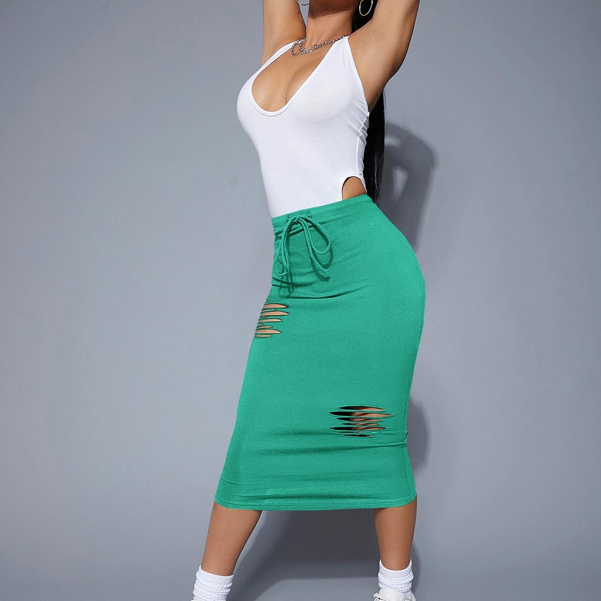 Falda lápiz con diseño roto de cintura con cordón