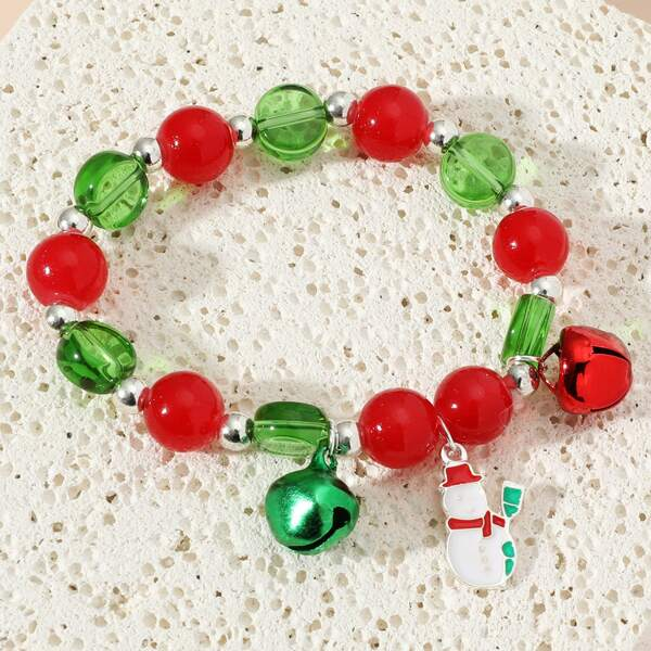 Christmas Snowman Charm Beaded Bracelet, Multicolor